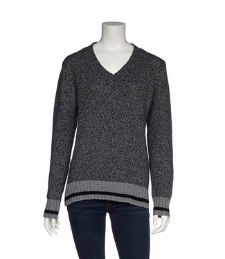 DKR Apparel Long Sleeve V-Neck Sweater with Side Slits and Contrast Trim