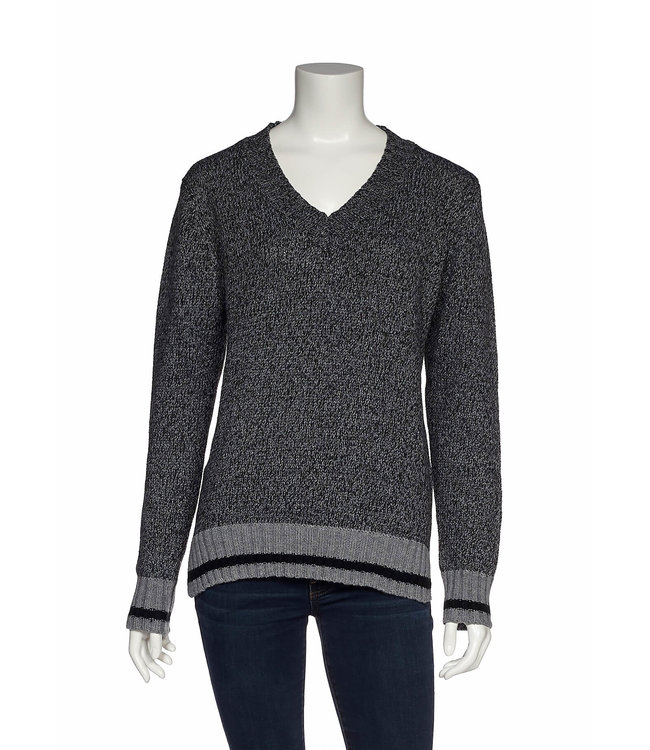 Long Sleeve V-Neck Sweater with Side Slits and Contrast Trim