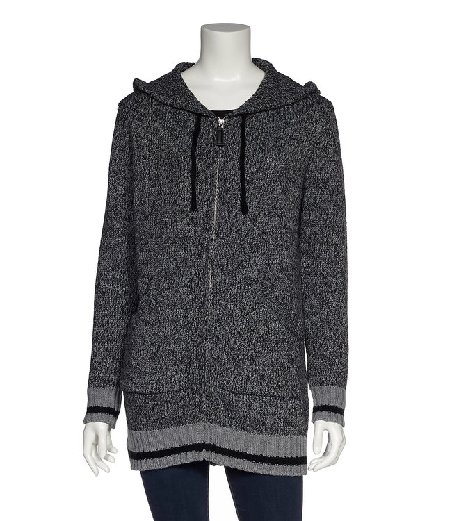 Full Zip Hooded Sweater with Pockets and Contrast Trim