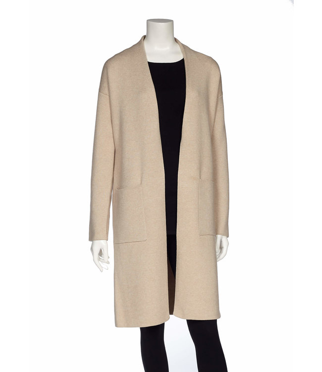 Long Body Open Cardigan with Patch Pockets and Slits at Hem