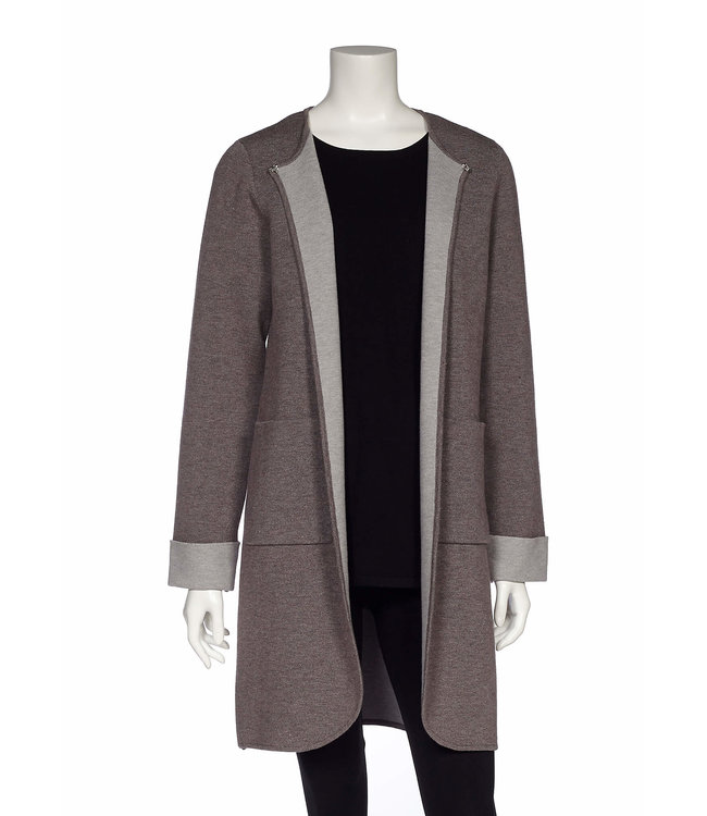 Two Tone Long Sleeve Open Cardigan with Patch Pockets