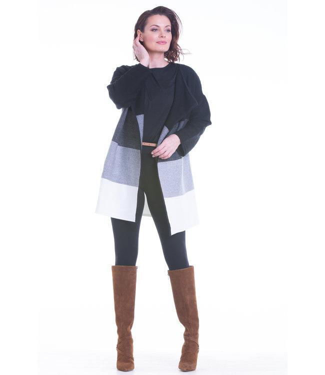 Long Body Full Length Colour Block Cardigan