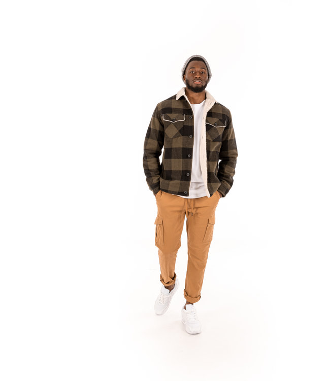 WOVEN JACKET WITH SHERPA LINING