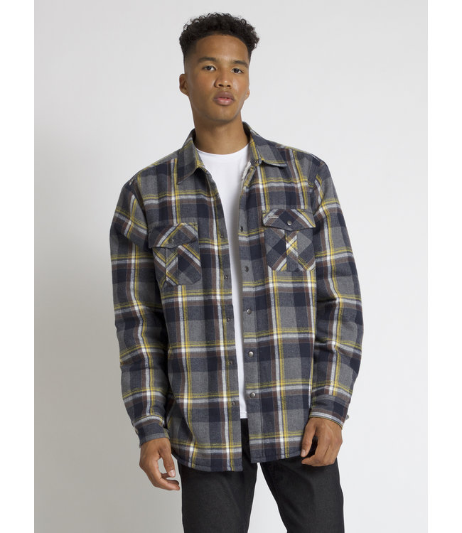 CHECKERED SEMI-FIT OVER-SHIRT WITH FLEECE