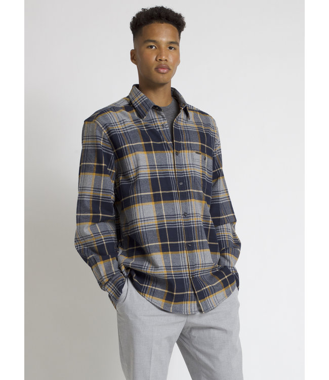 SEMI-FIT COTTON BRUSHED CHECKERED FLANNEL SHIRT