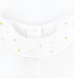 Embroidered Heart Collar Onesie - 3 months