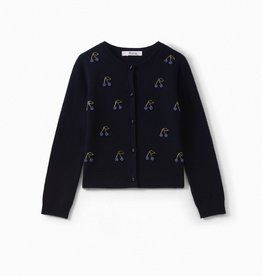 Navy Beaded Embroidery Cardigan