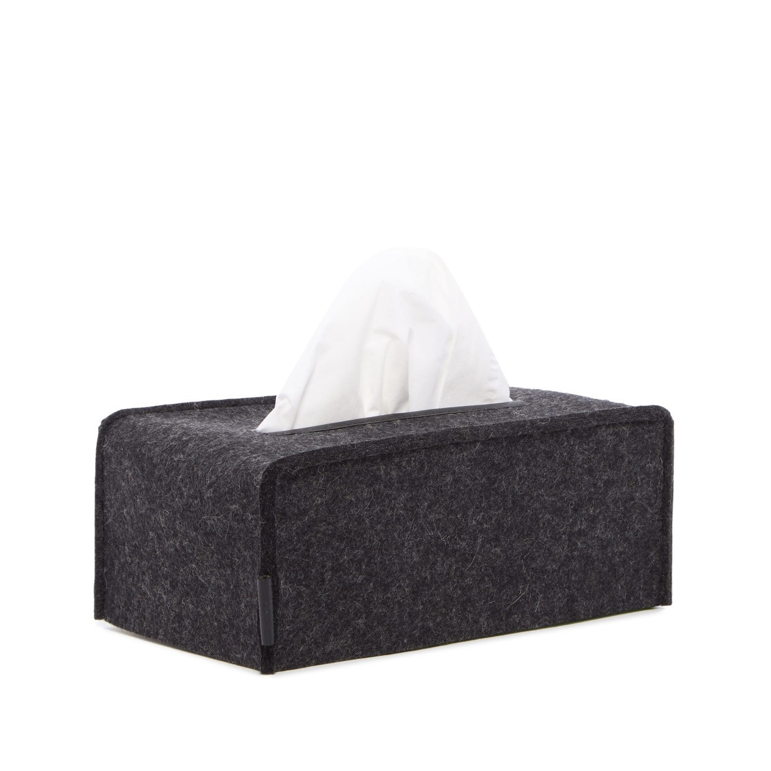 Felt Tissue Box Cover Large - Charcoal-1
