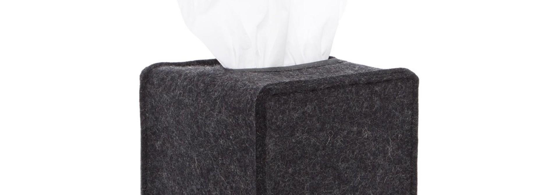 Felt Tissue Box Cover Small - Charcoal