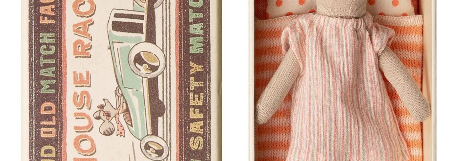 Big Sister Mouse in Box - Orange Stripe
