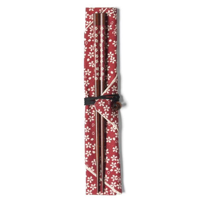 Red Blossoms Chopsticks With Carrying Case-1