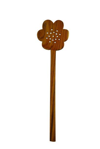 Teak Flower Strainer Spoon