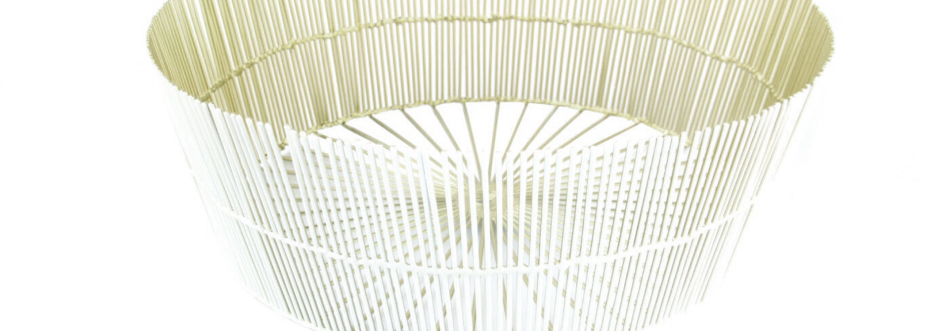 White & Gold Wire Round Basket