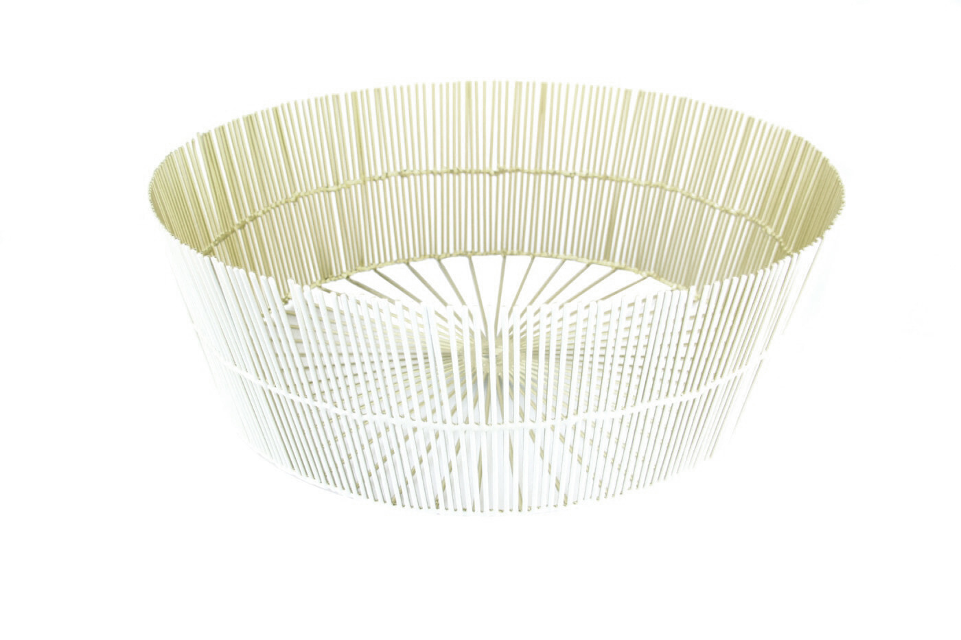 White & Gold Wire Round Basket-1
