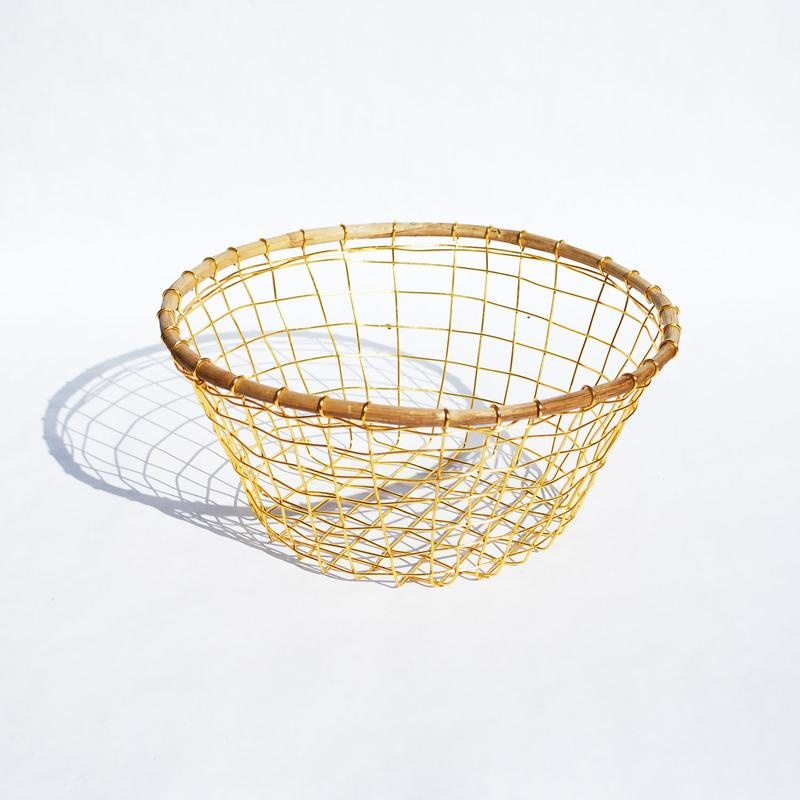 Gold Wire & Cane Round Basket-2