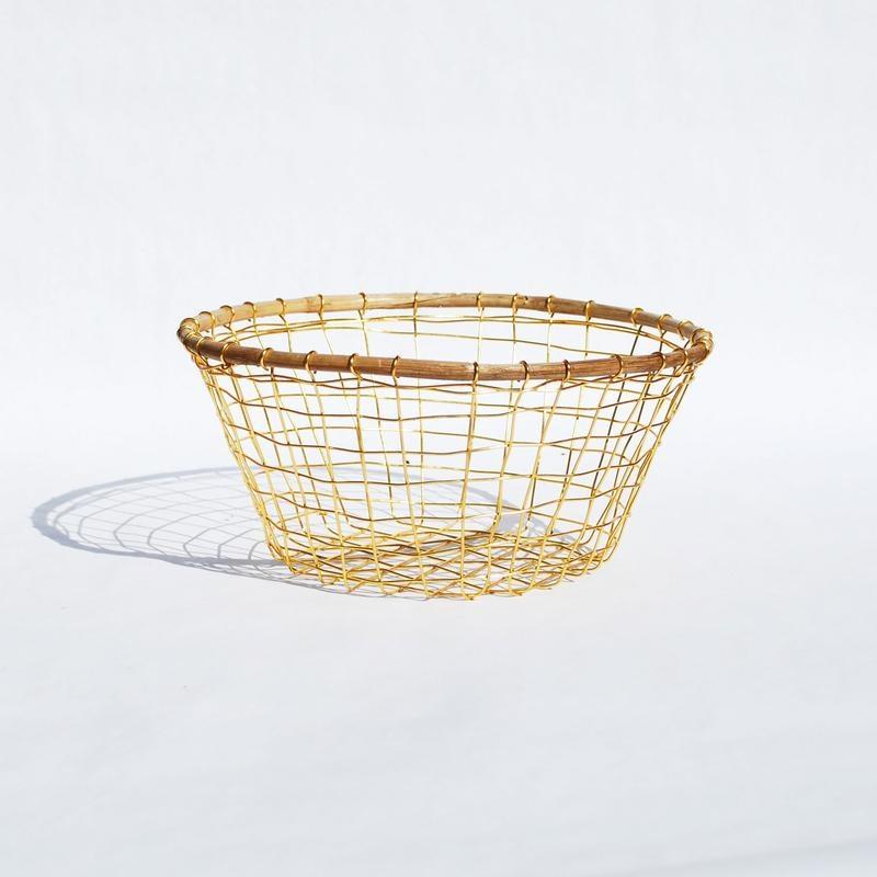 Gold Wire & Cane Round Basket-3
