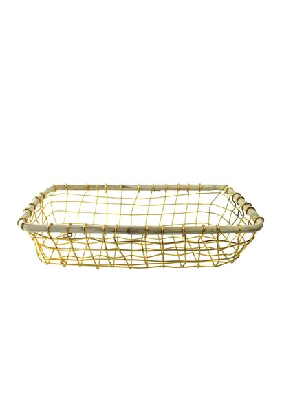 Gold Wire & Cane Rectangular Basket