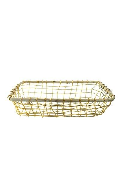 Gold Wire & Cane Rectangular Basket