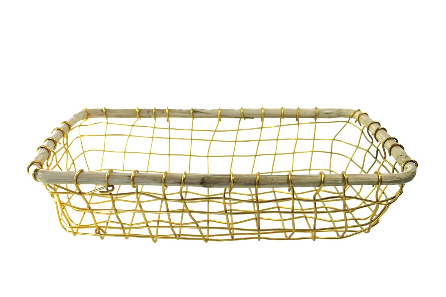 Gold Wire & Cane Rectangular Basket-1