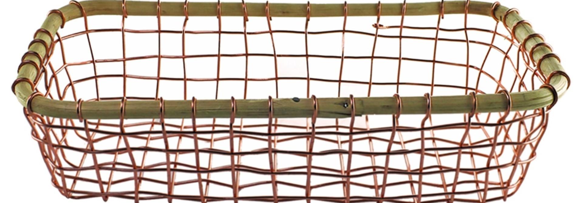 Copper Wire & Cane Rectangular Basket