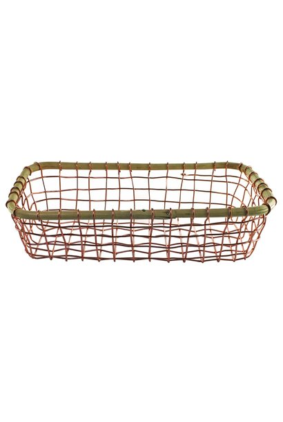 Copper Wire & Cane Rectangular Basket