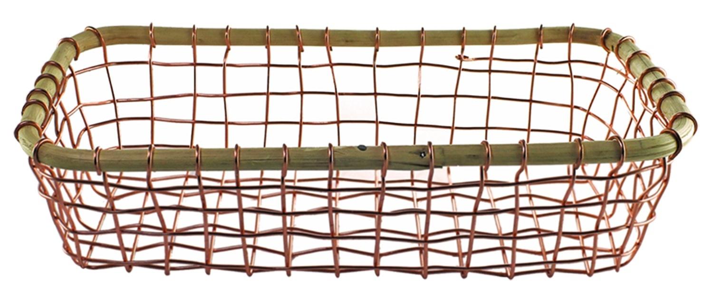Copper Wire & Cane Rectangular Basket-1