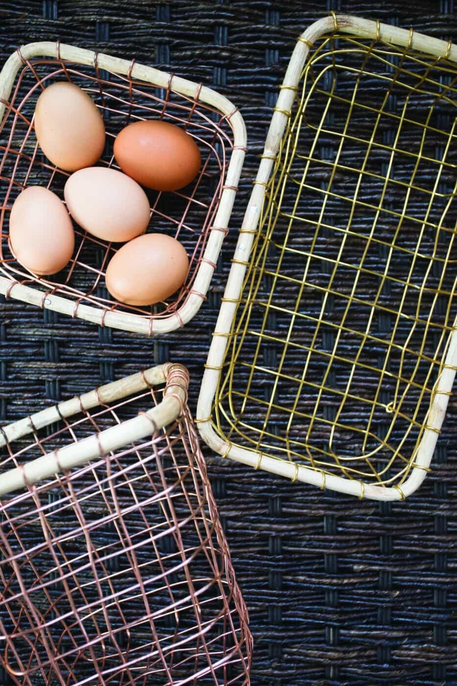 Copper Wire & Cane Rectangular Basket-2
