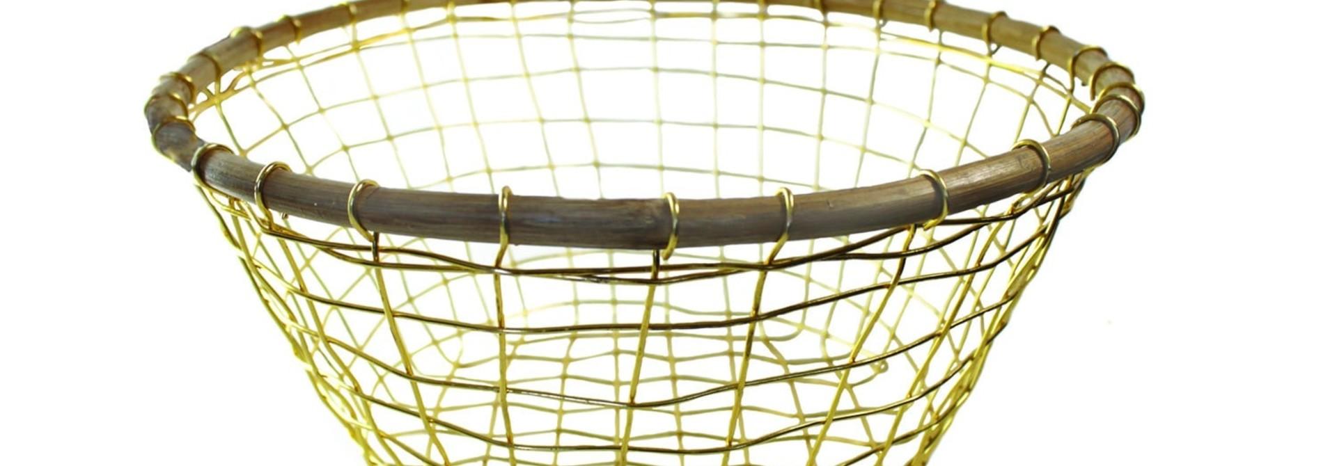 Gold Wire & Cane Round Basket