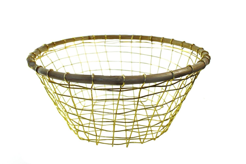 Gold Wire & Cane Round Basket-1