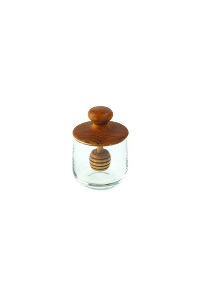 Teak & Glass Honey Jar, Mini