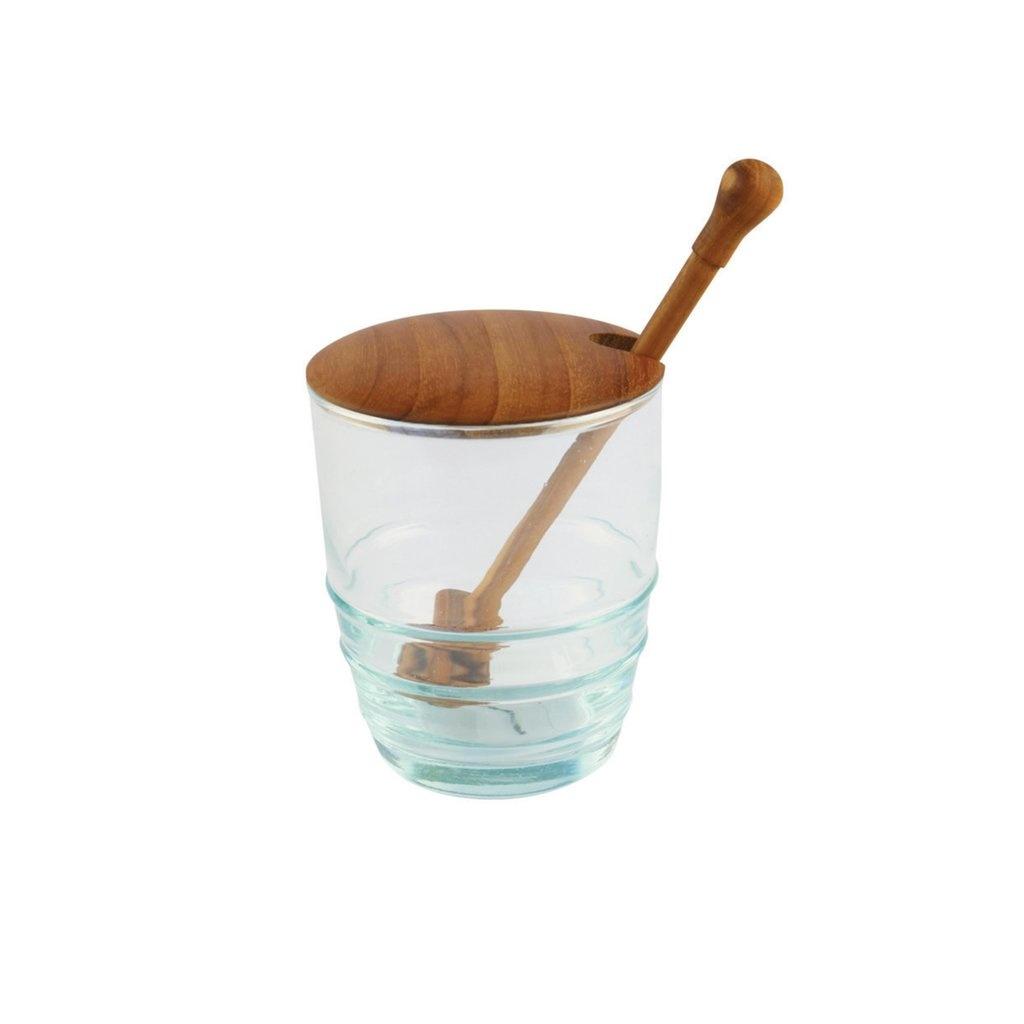 Recycled Glass & Teak Jar Set Spoon-1