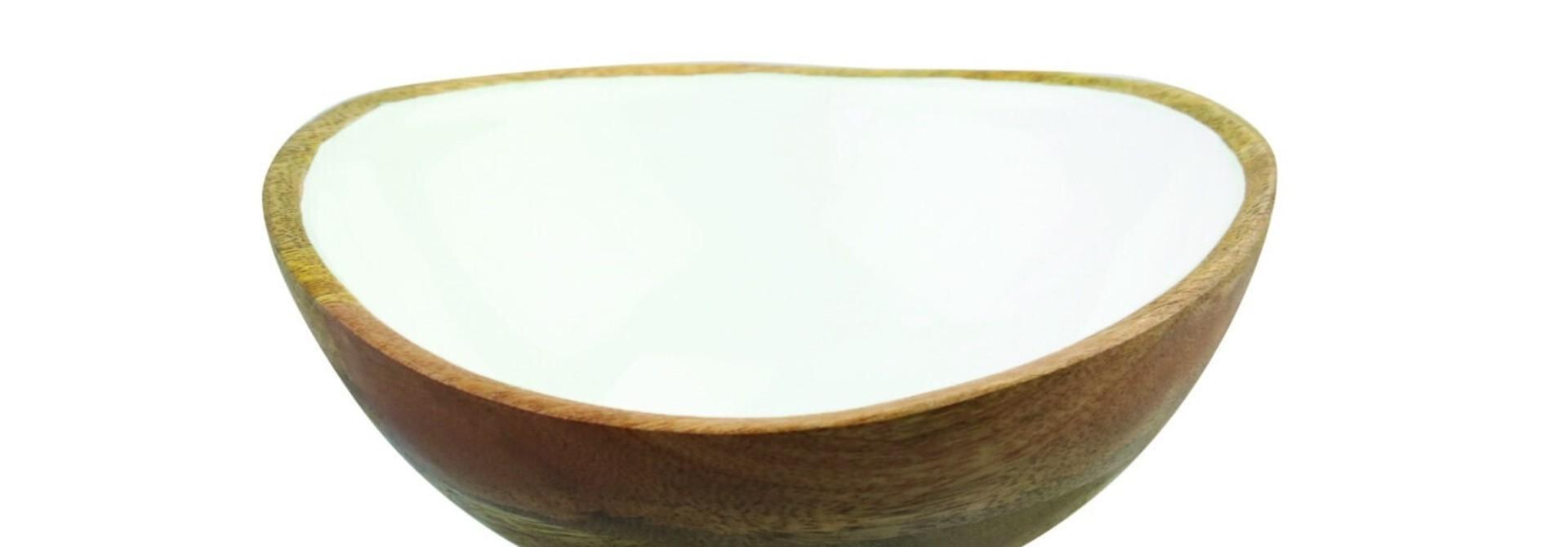 Mango Wood & White Enamel Bowl - Medium