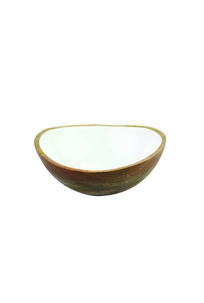 Mango Wood & White Enamel Bowl - Medium