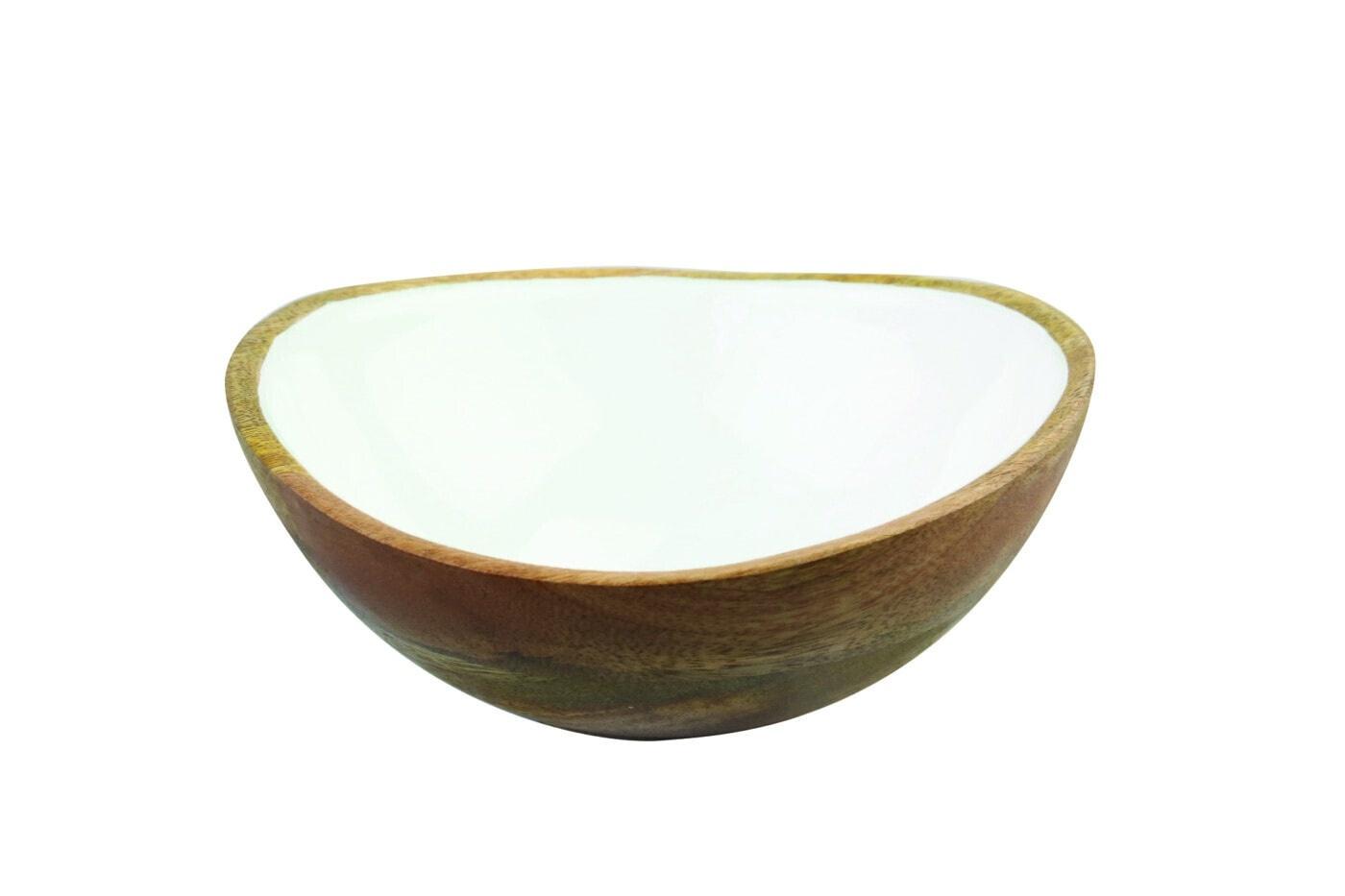 Mango Wood & White Enamel Bowl - Medium-1
