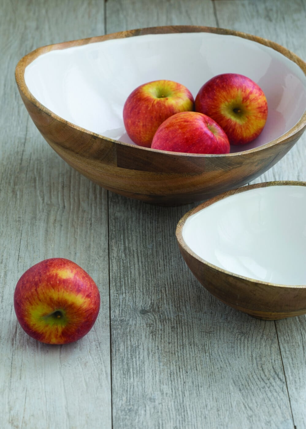 Mango Wood & White Enamel Bowl - Medium-2