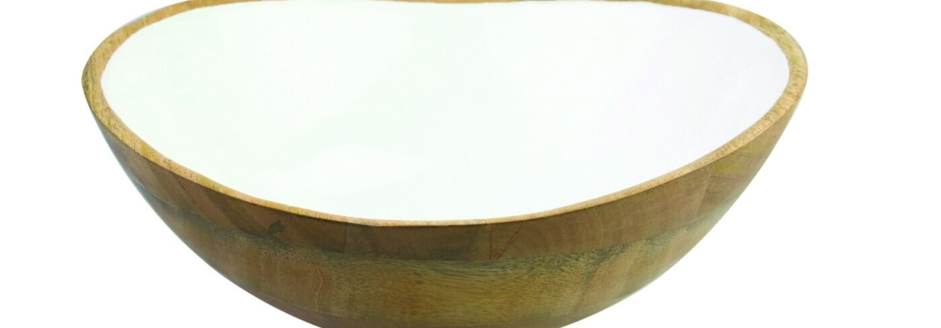 Mango Wood & White Enamel Bowl - Large