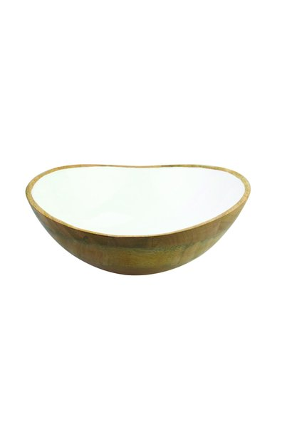 Mango Wood & White Enamel Bowl - Large
