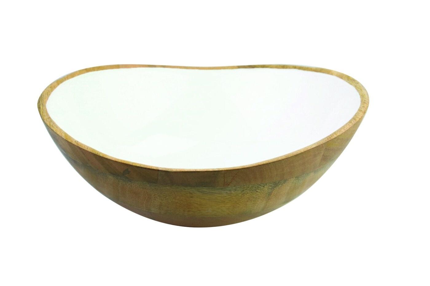 Mango Wood & White Enamel Bowl - Large-1