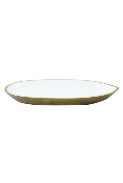 Mango Wood & White Enamel Oval Dish - Large