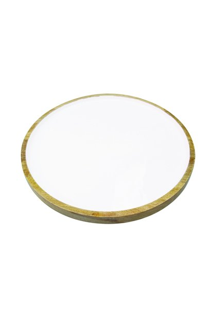 Mango Wood & White Enamel Round Platter