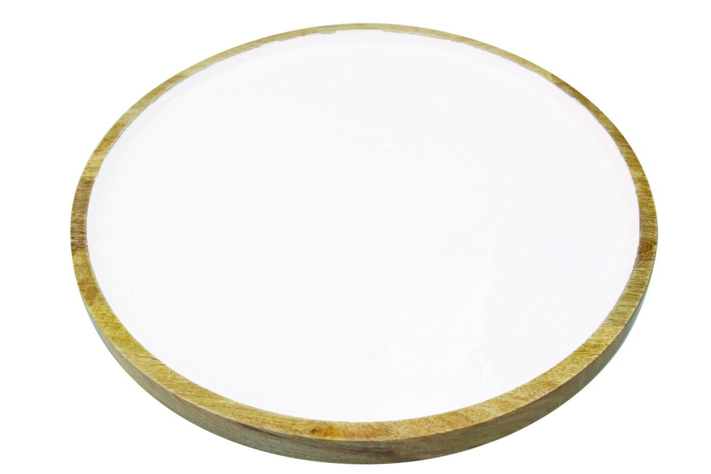 Mango Wood & White Enamel Round Platter-1