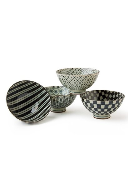 "Retro Black & White - 4.5"" Rice Bowl Set (4)"