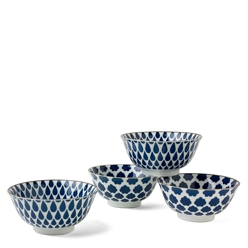 "Blue & White - 6"" Bowl Set (4)-1"