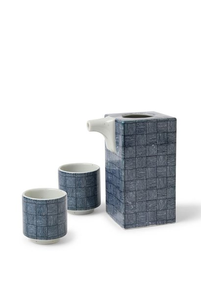 Blue Basket Weave - Sake Set