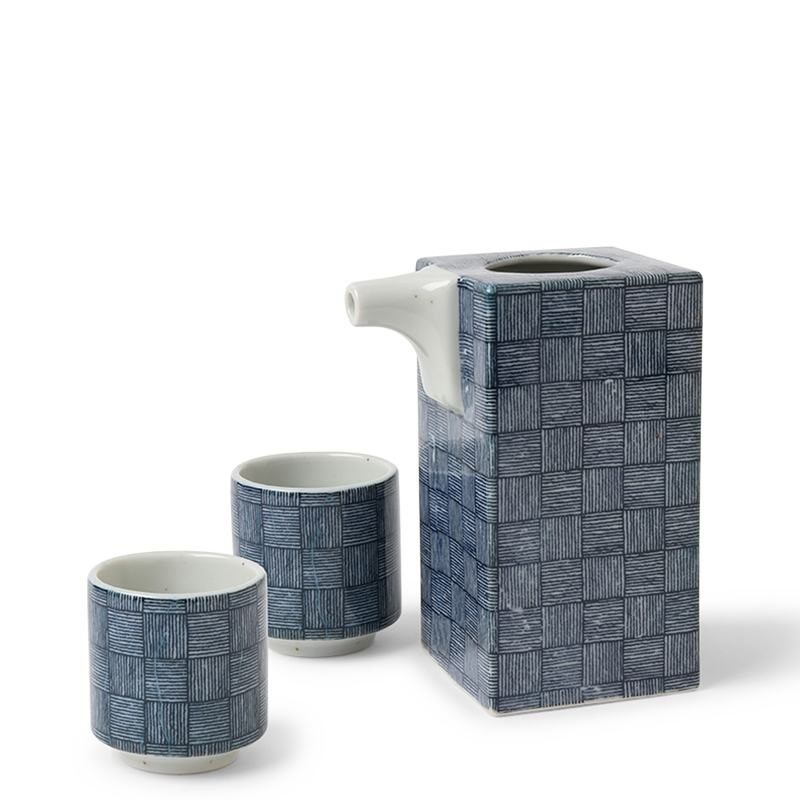 Blue Basket Weave - Sake Set-1