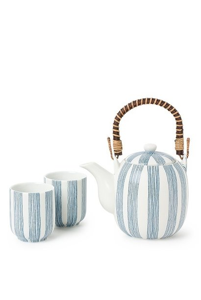 Obi Blue Stripe - Tea Set