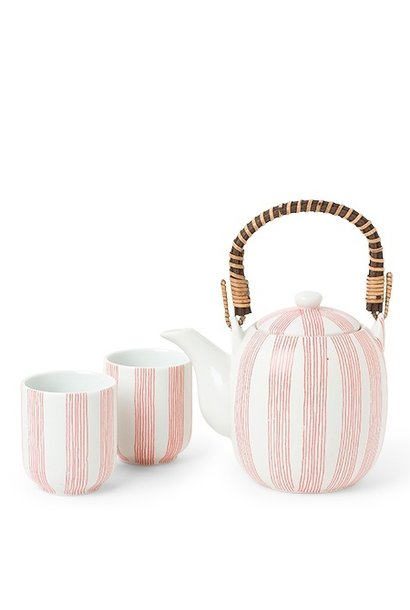 Obi Red Stripe - Tea Set