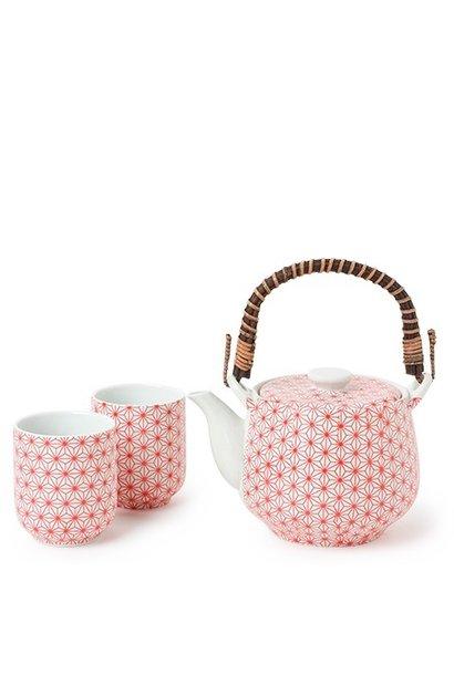 Asanoha Red Pattern - Tea Set
