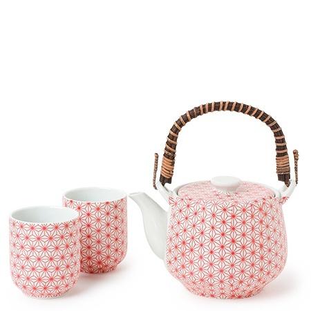 Asanoha Red Pattern - Tea Set-1