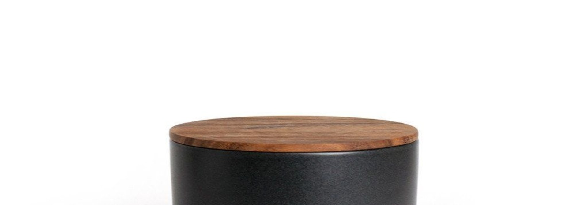 Black Stoneware Container with Acacia Lid - Extra Small